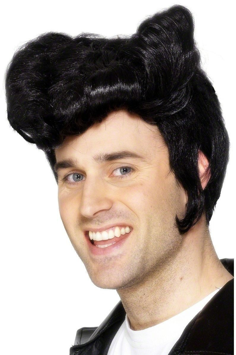 Greaser Wig - Fancy Dress Mens (Film) - Black