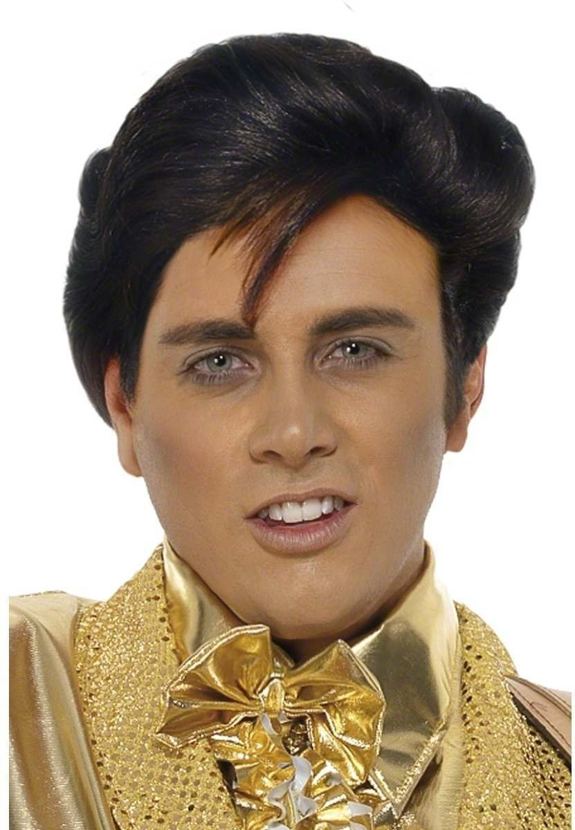 Men'S Elvis Wig - Fancy Dress Mens (Music) - Black