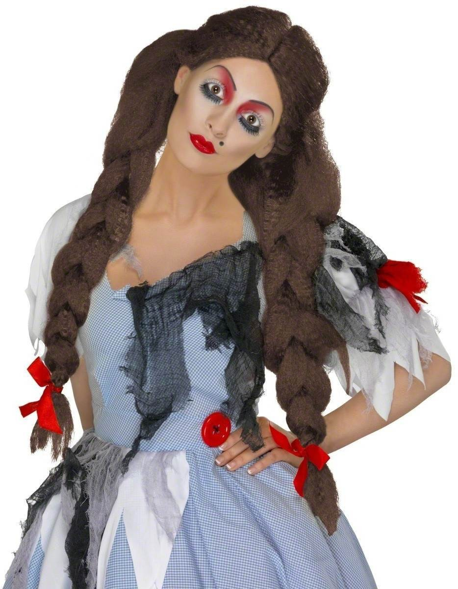 Deadly Dorothy Wig Fancy Dress Ladies - Brown