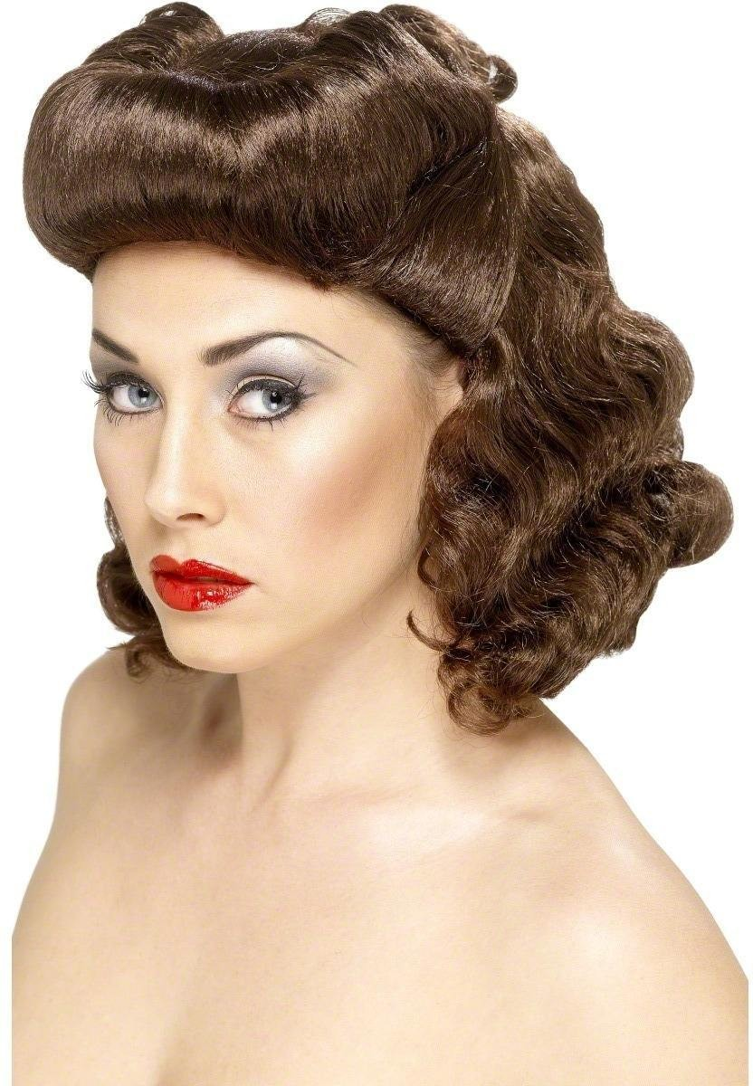 Pin Up Girl Wig - Fancy Dress Ladies - Brown