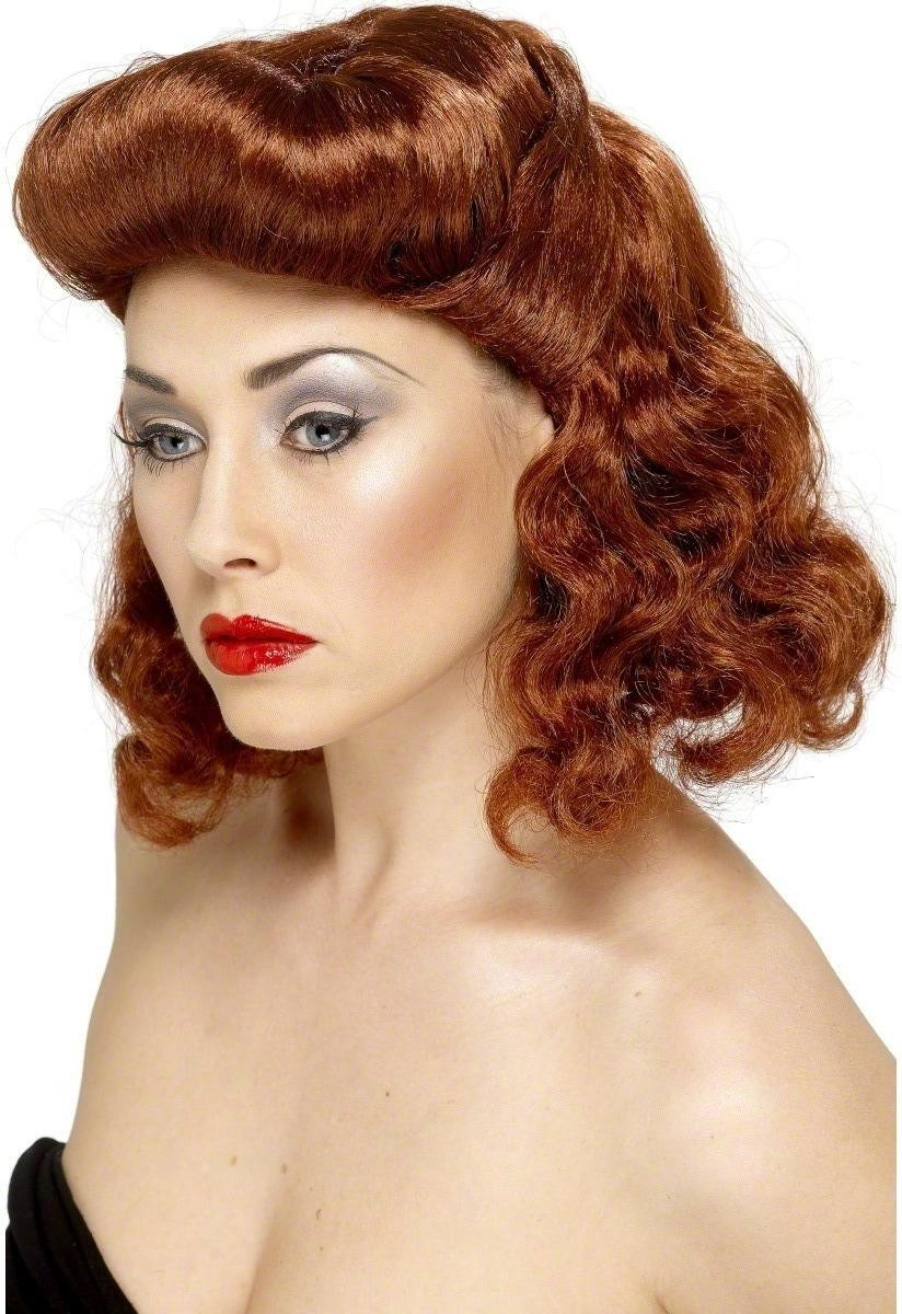 Pin Up Girl Wig - Fancy Dress Ladies - Auburn