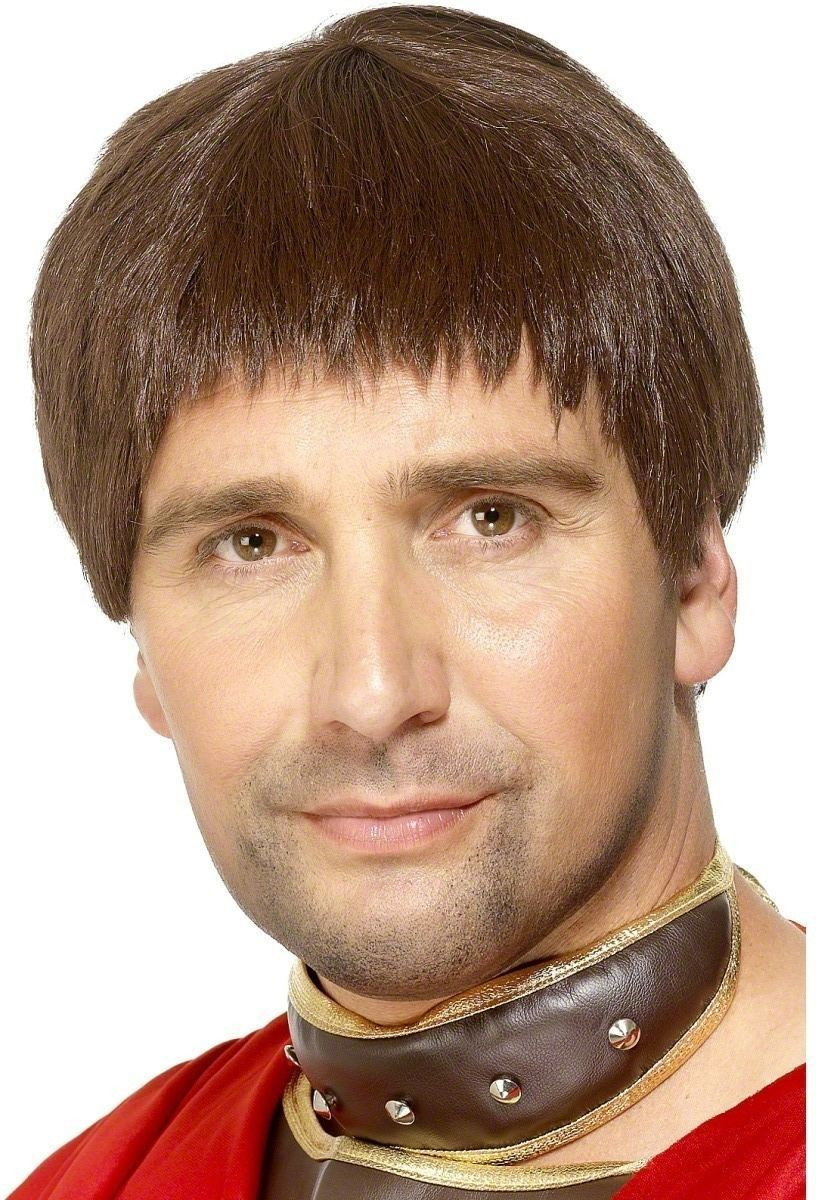 Roman Man Wig - Fancy Dress Mens (Medieval) - Brown