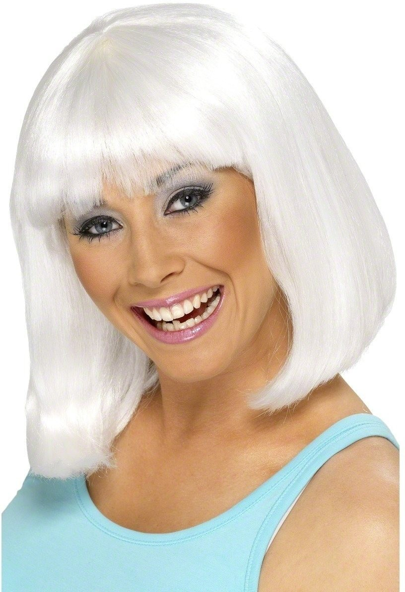 Cheerleader Wig - Fancy Dress Ladies (Sport) - White