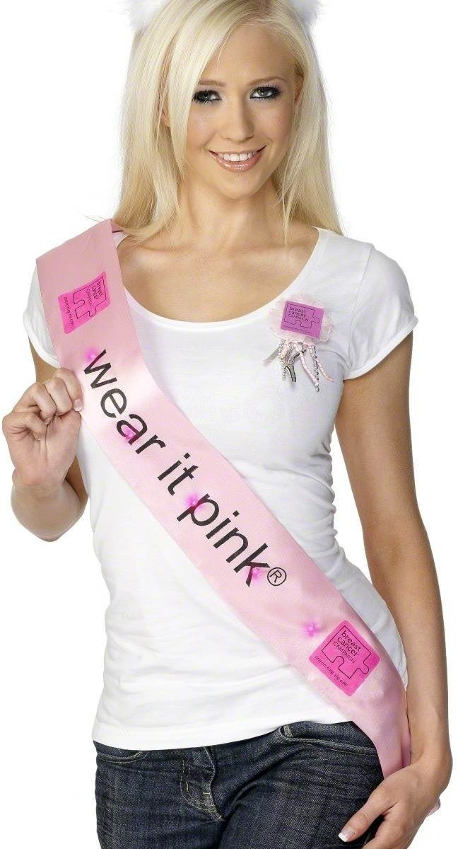 Pink Flashing Sash 'Researching The Cure' Fancy Dress