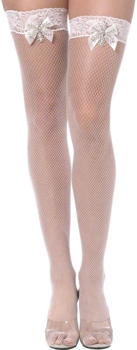 Sexy Snowflake Thigh High Stockings, Fancy Dress Ladies
