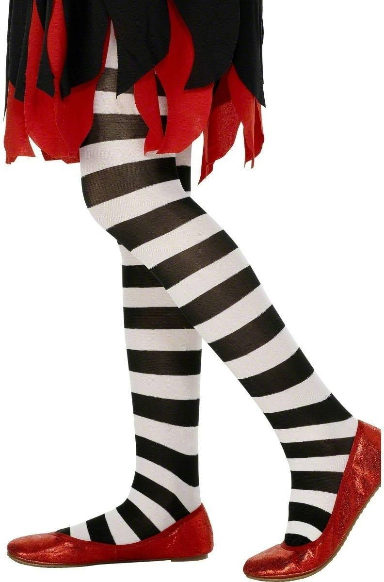 Tights Black And White Striped - Fancy Dress Age 8-12