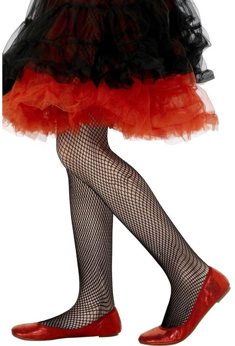 Tights Fishnet Black - Fancy Dress Age 8-12 Girls