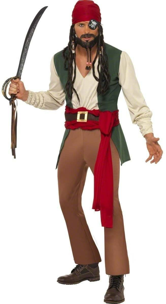 Caribbean Drunken Pirate Fancy Dress Costume Mens (Pirates)