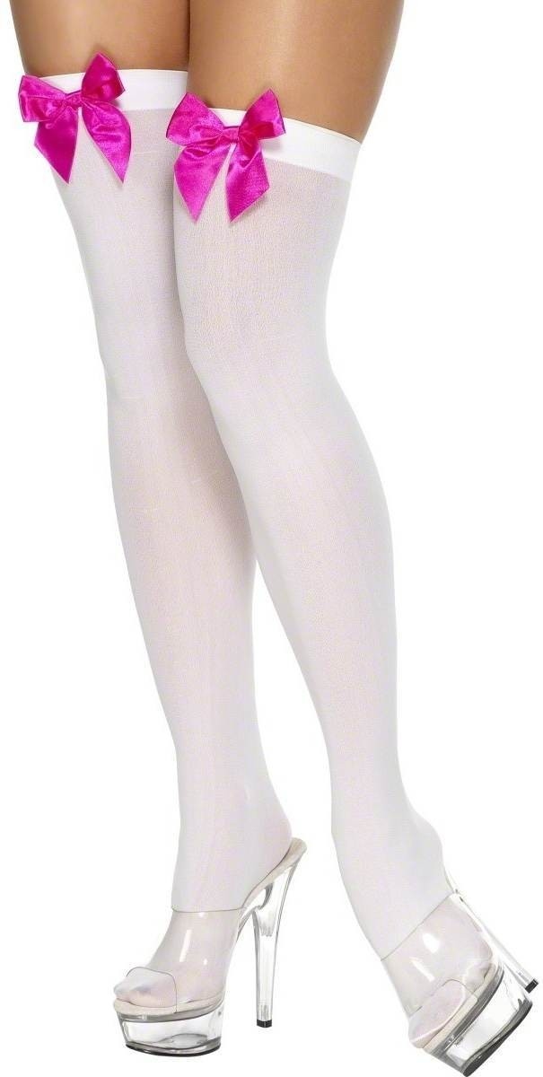 Thigh High Stockings White And Fuchsia - Fancy Dress