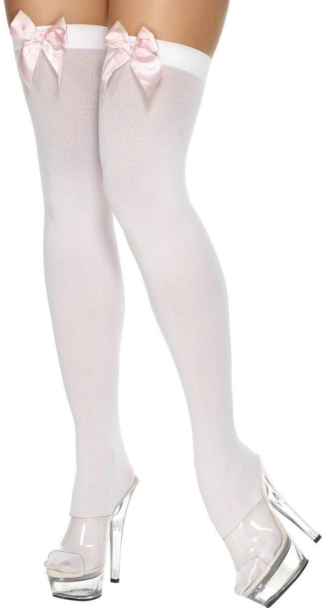 Thigh High Stockings White And Pink - Fancy Dress