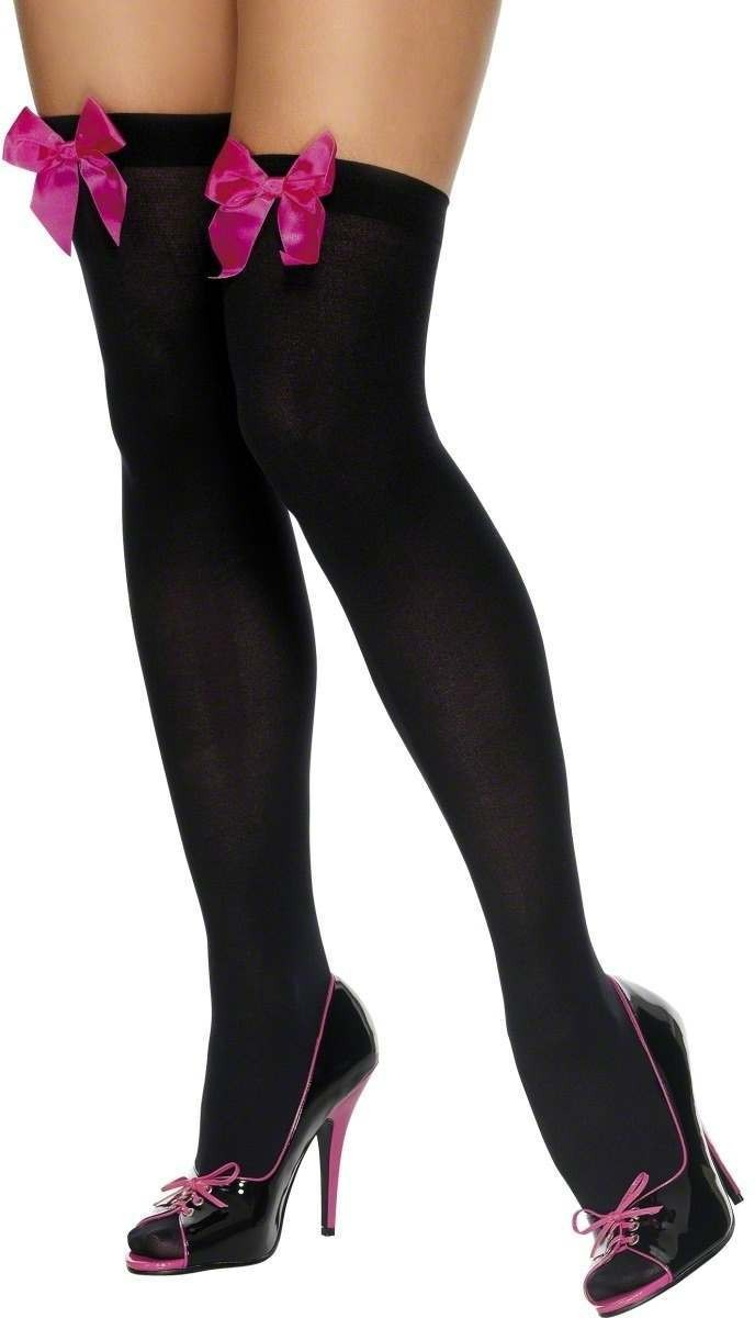 Thigh High Stockings Black And Fuchsia - Fancy Dress
