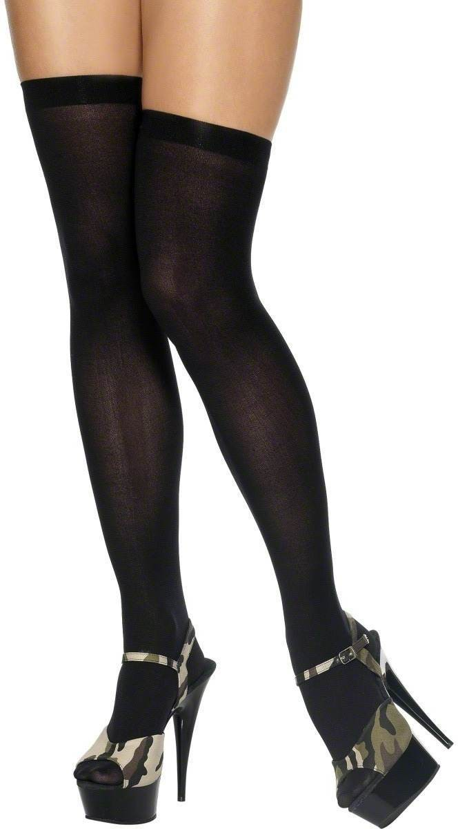 Thigh High Stockings Black - Fancy Dress Ladies (Burlesque , Sexy)