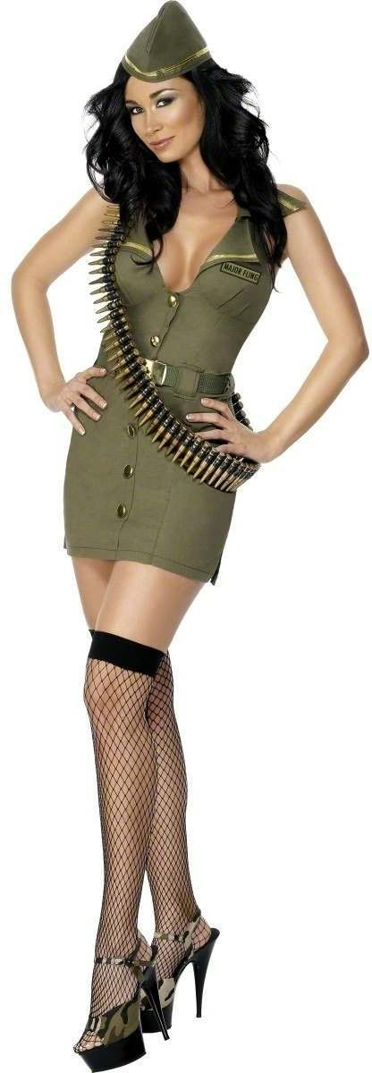 Fever Major Fling Fancy Dress Costume Ladies (Army , Sexy)