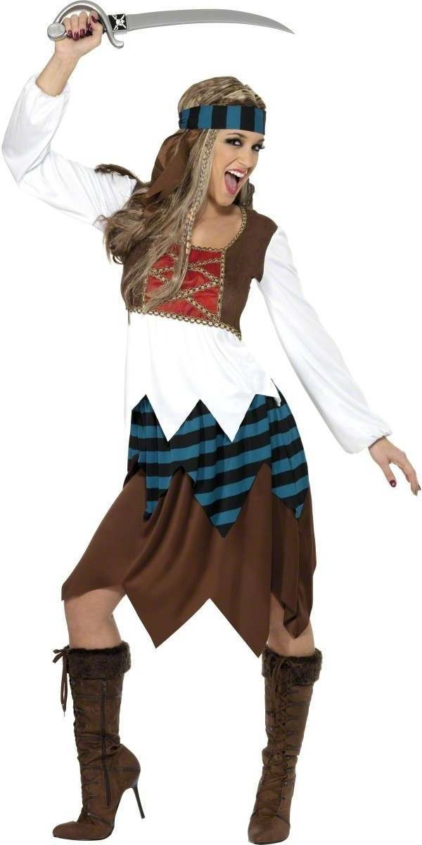 Caribbean Pirate Lady Fancy Dress Costume Ladies (Pirates)