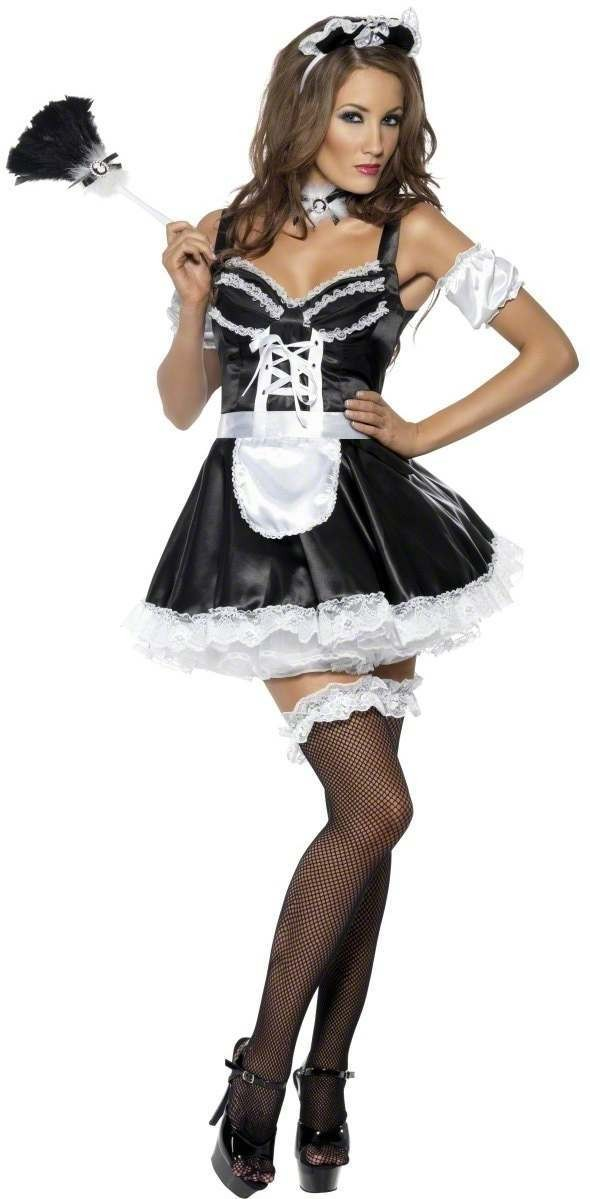 Fever Flirty French Maid Fancy Dress Costume Ladies (French , Sexy)