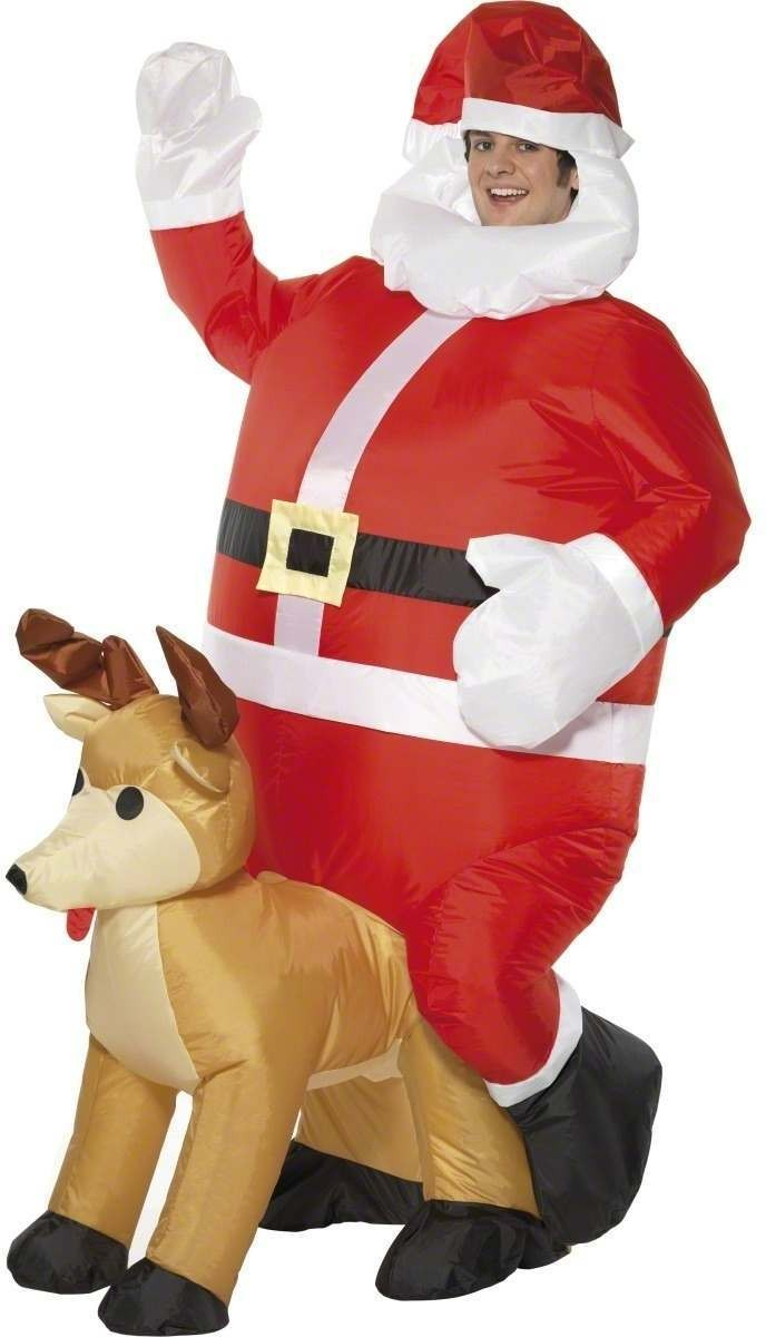 Inflatable Santa Sat On Reindeer Fancy Dress Costume (Christmas)