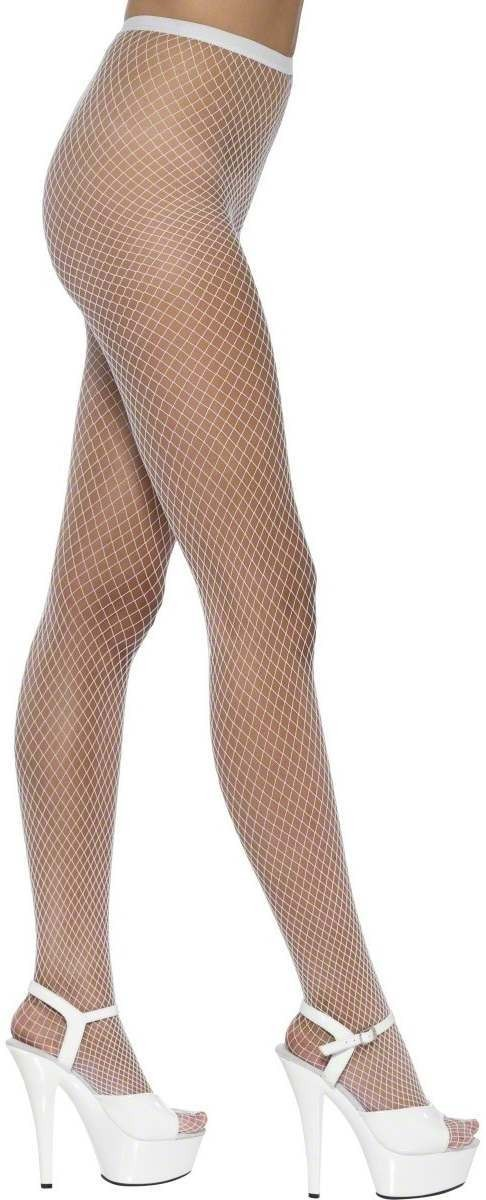 Tights Lattice Net White - Fancy Dress Ladies