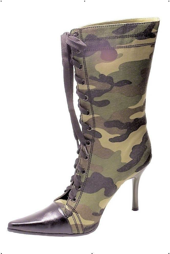 Fever Army Boots Fancy Dress Ladies (Army)