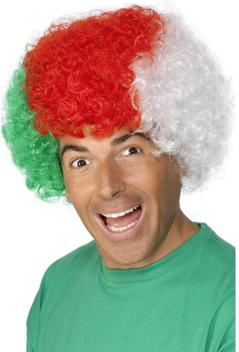 Welsh Flag Coloured Curly Wig - Fancy Dress - Red/White