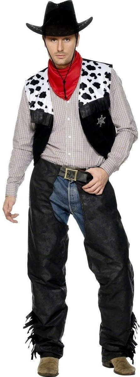 Cowboy Leather Fancy Dress Costume Mens (Cowboys/Native Americans)