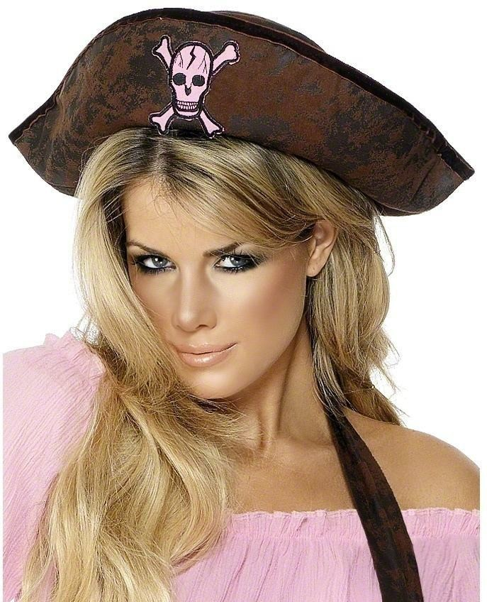 Pirate Hat Leather Look - Fancy Dress Ladies (Pirates)