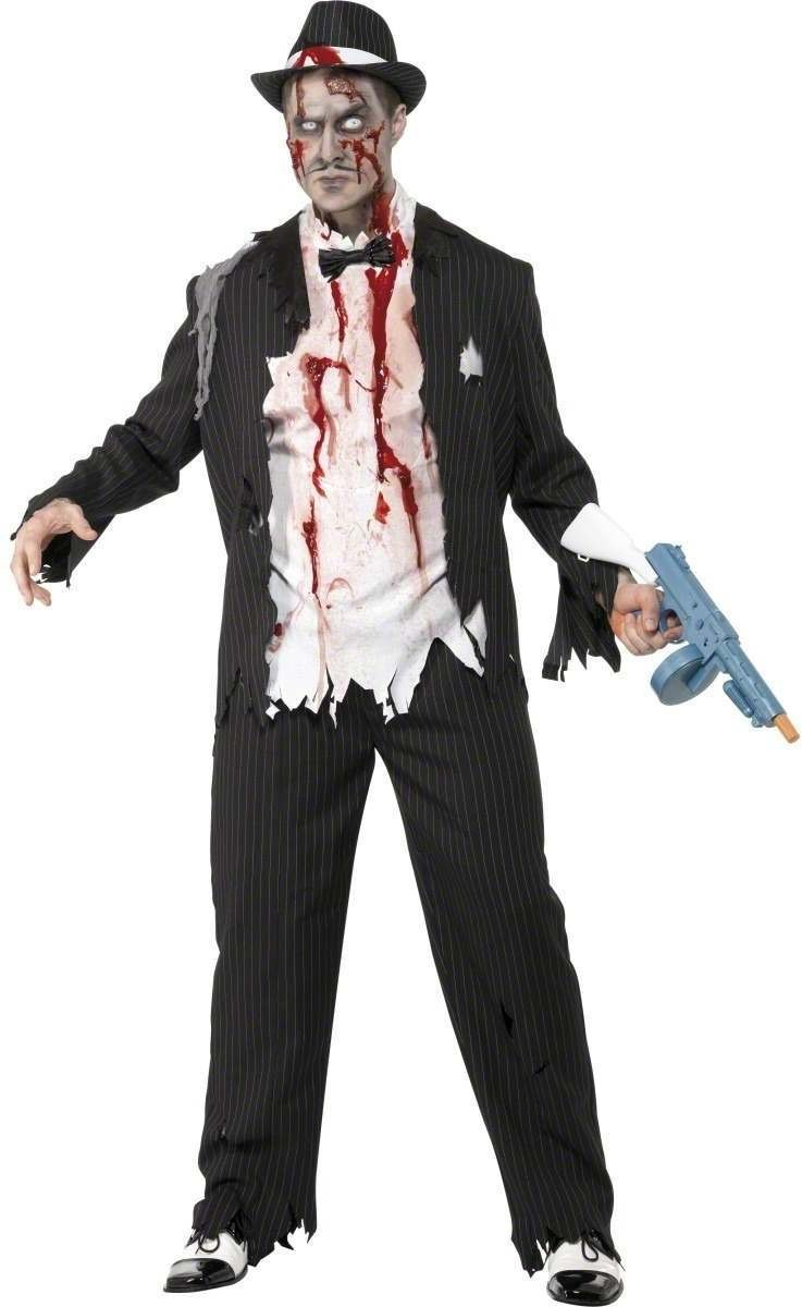 Zombie Gangster Fancy Dress Costume Mens (Halloween)