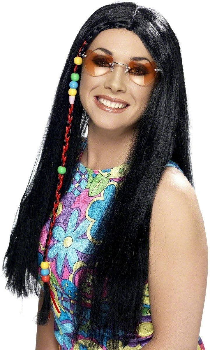 Hippy Party Wig - Fancy Dress Ladies (1960S) - Black
