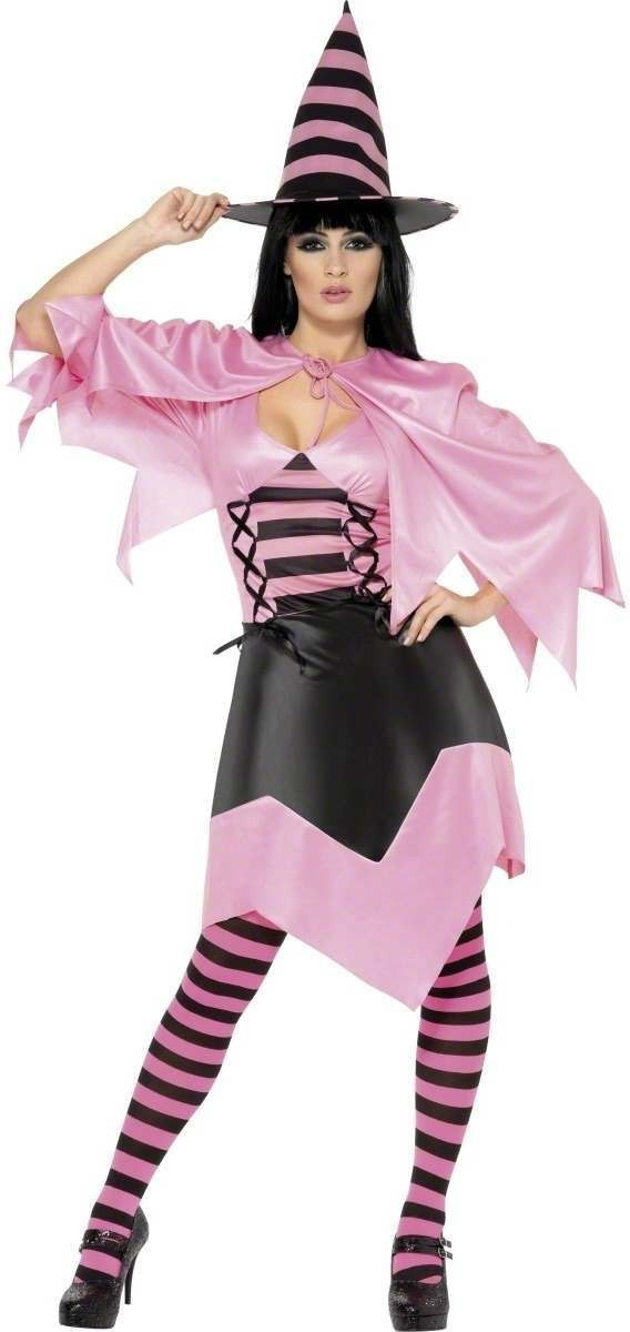 Hot Pink Witch Fancy Dress Costume Ladies (Halloween)