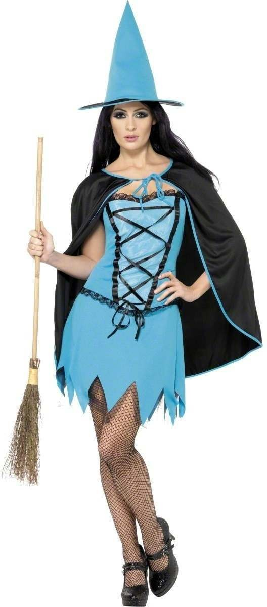 Blue Sparkle Witch Fancy Dress Costume Ladies (Halloween)