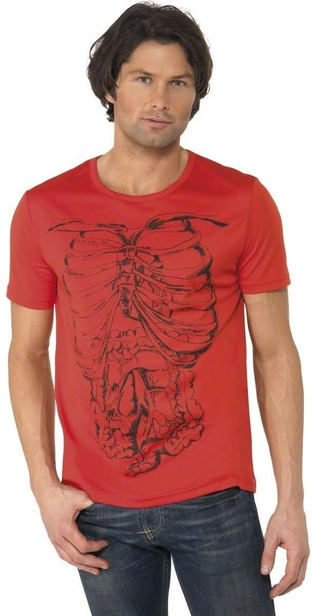Rib Cage T-Shirt Fancy Dress Costume Mens Size 38-40 S (Halloween)