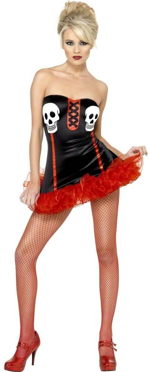 Fever Skull Print Fancy Dress Costume Ladies (Sexy)