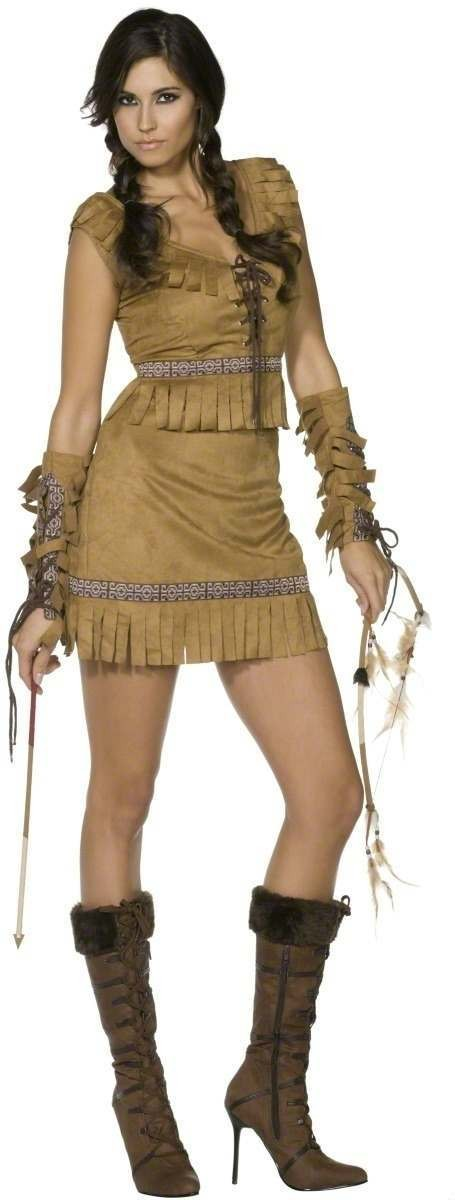 Fever Pocahontas Fancy Dress Costume Ladies (Cowboys/Indians, Fairy Tales)
