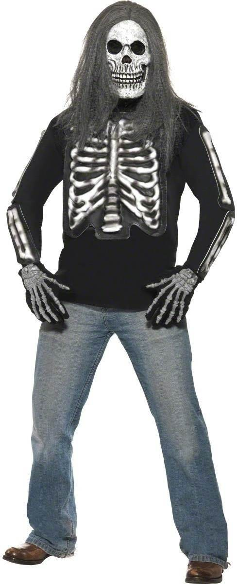 Skeleton Long Sleeved Top Costume Mens Size 38-40 S (Halloween)