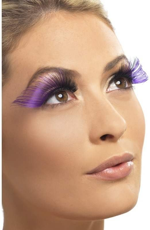 Eyelashes Very Long, Purple And Black (Halloween Eyelashes)