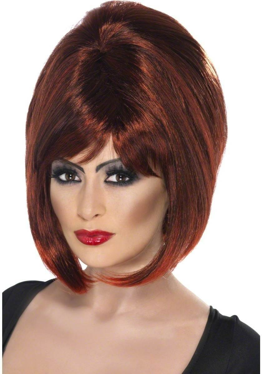 Vampiress Wig Fancy Dress Ladies (Halloween) -Auburn