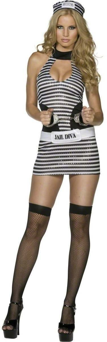 Fever Jail Diva Fancy Dress Costume Ladies (Sexy)