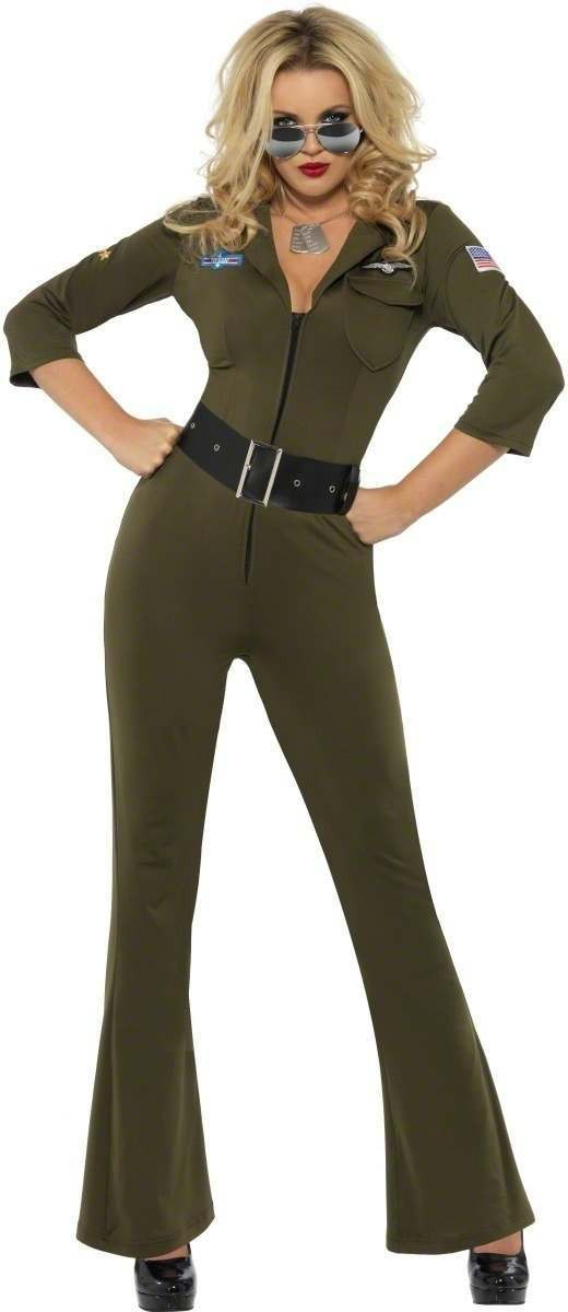 Top Gun Aviator Fancy Dress Costume Ladies (1980S, Army, Film, Pilot/Air, Tv)