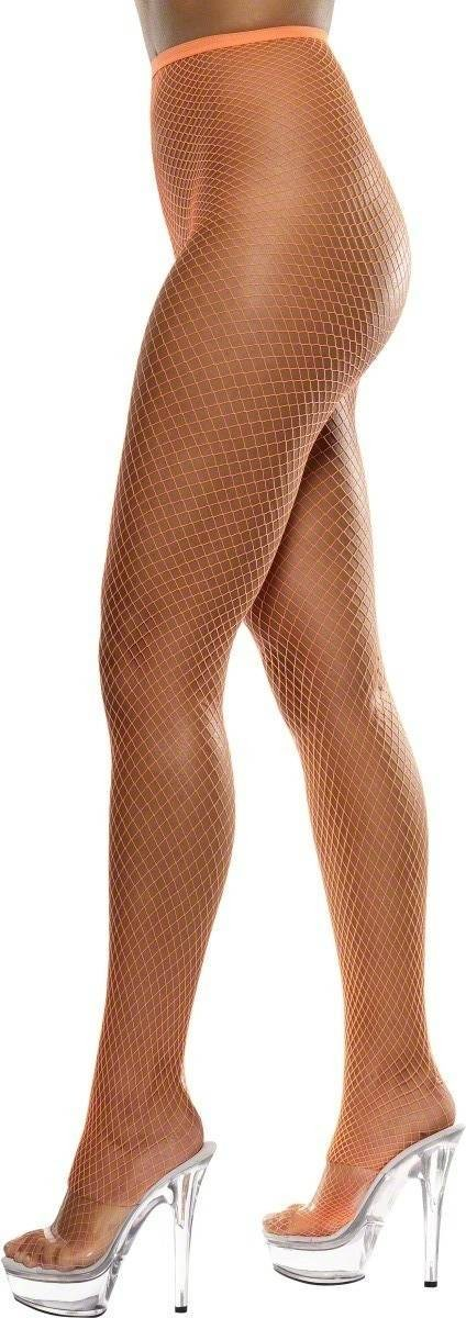 Lattice Net Tights Neon Orange - Fancy Dress Ladies