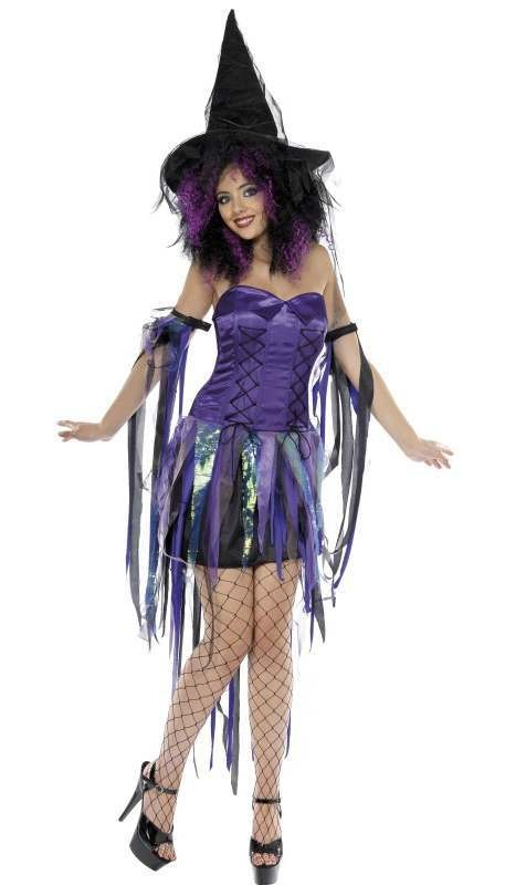 Ladies Purple Naughty Witch Halloween Fancy Dress Costume