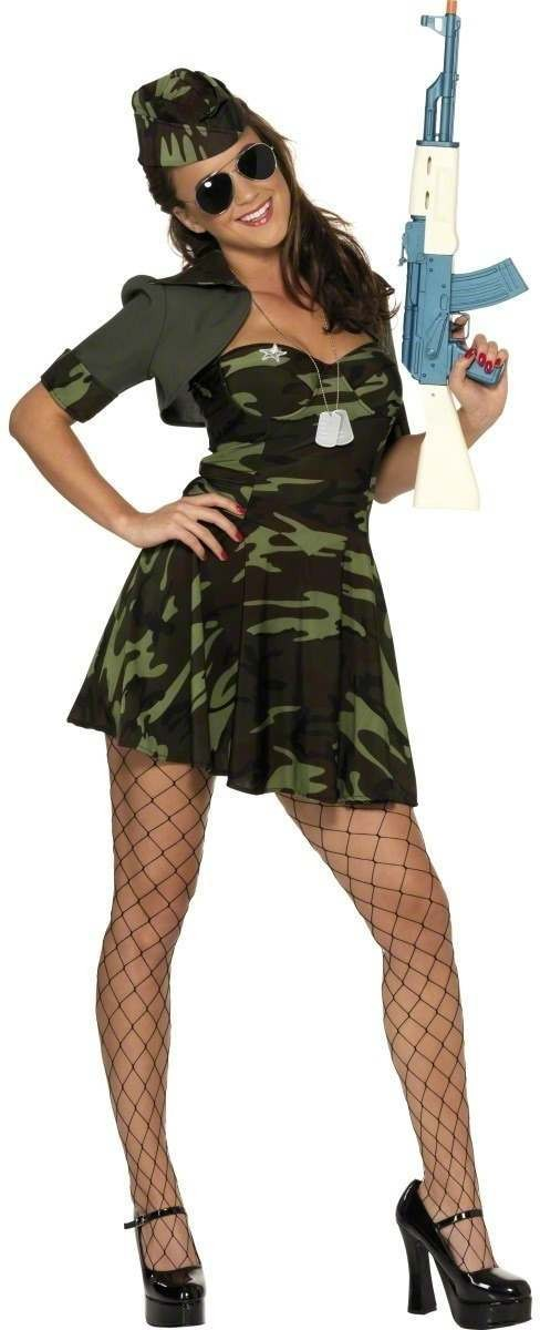 Military Babe Fancy Dress Costume Ladies (Army)