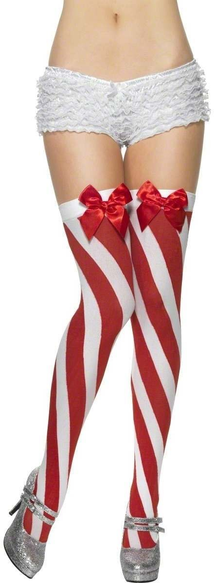 Candy Stripe Thigh High Stockings - Fancy Dress Ladies