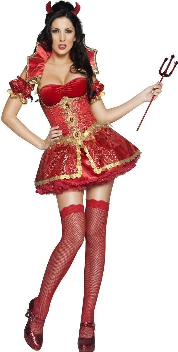 Devil 5 Piece Fancy Dress Costume Ladies (Sexy)