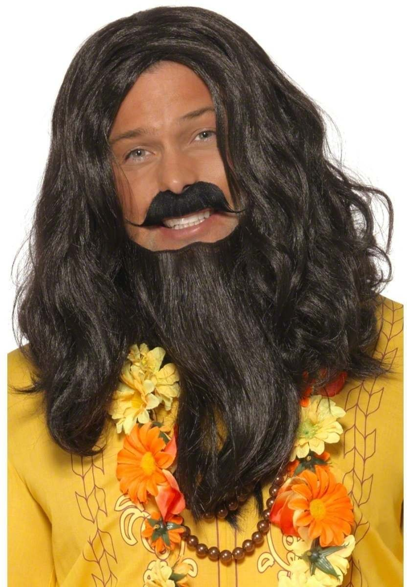 Love Guru Wig Fancy Dress Mens - Black
