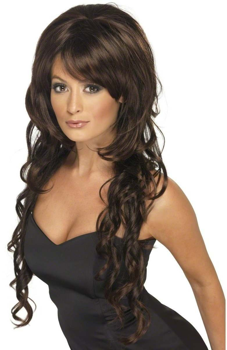 Cheryl Wig Fancy Dress Ladies - Brown