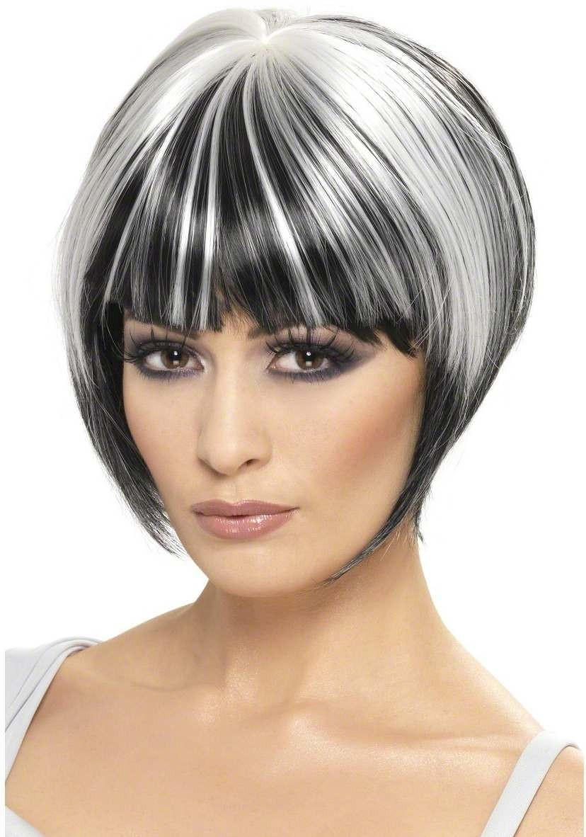 Quirky Bob Wig - Fancy Dress Ladies (Halloween) - Black/White
