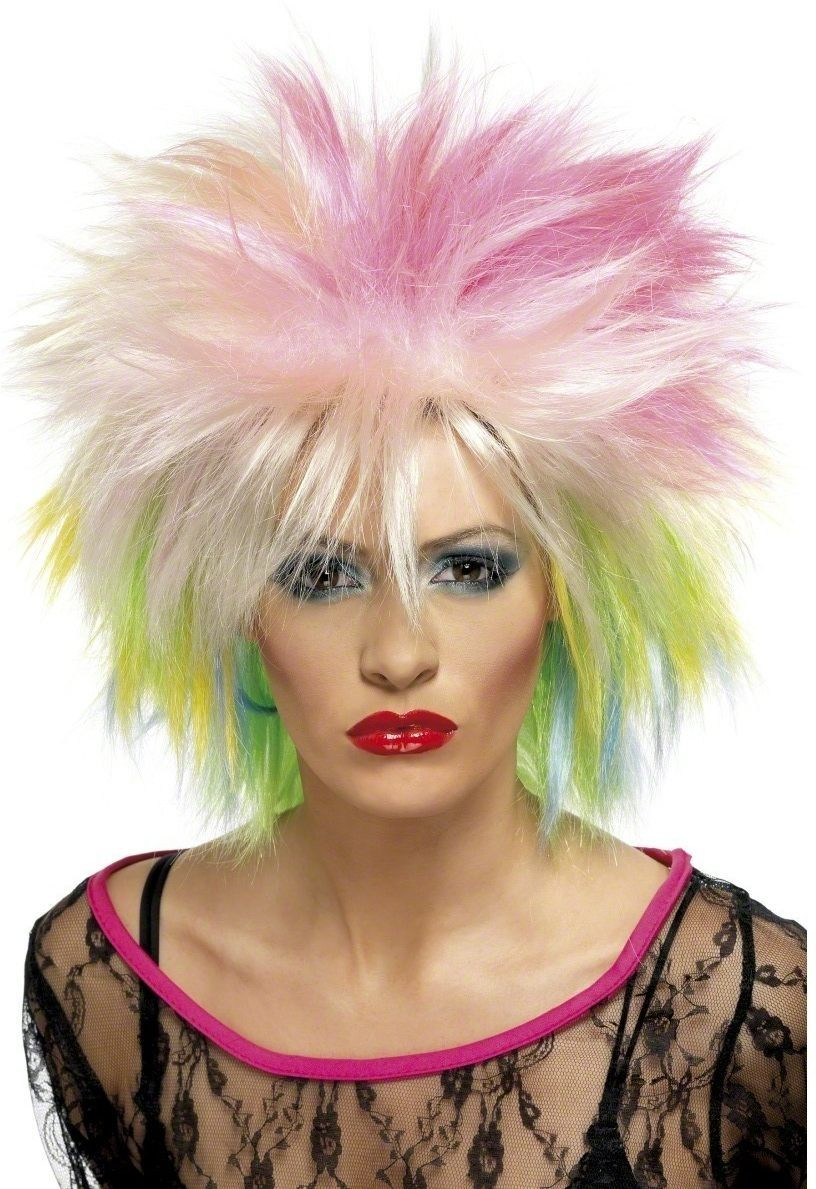 80'S Cute Wig Fancy Dress Ladies (1980S) - Rainbow