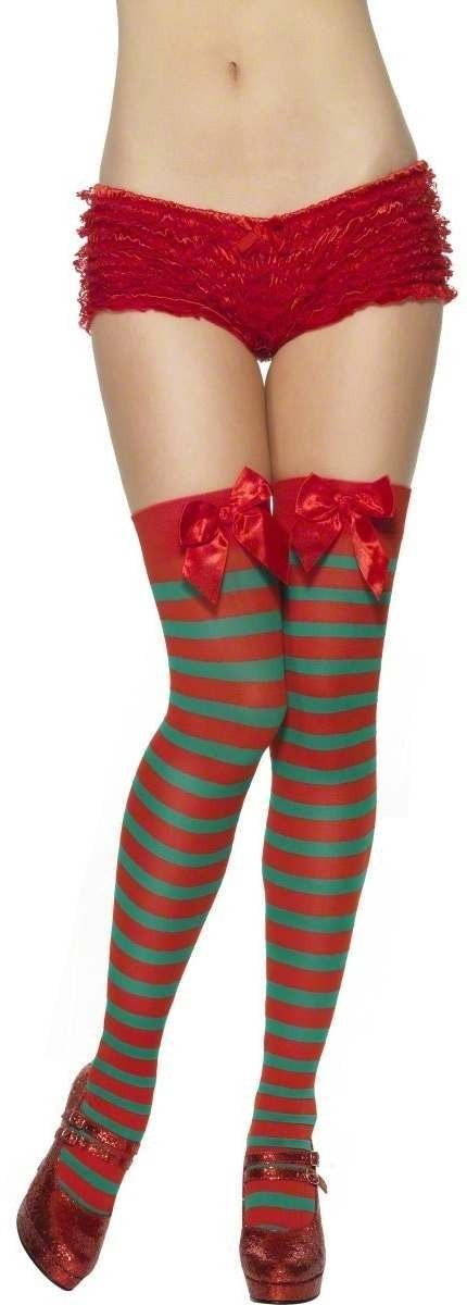 Stripey Elf Thigh High Stockings - Fancy Dress Ladies (Christmas)