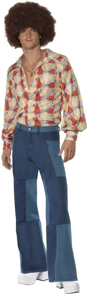 Mens Patchwork Flares Fancy Dress Mens Size 32 Leg L