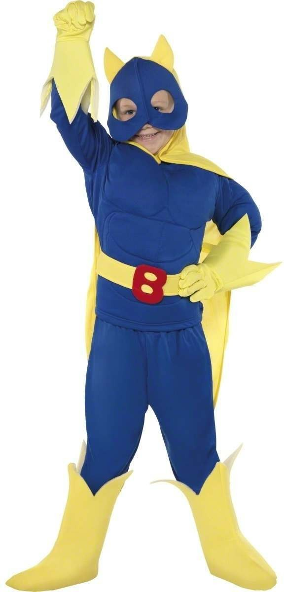 Bananaman Junior Fancy Dress Costume Age 7-9 Boys (1980S, Cartoon, Heroes, Tv)