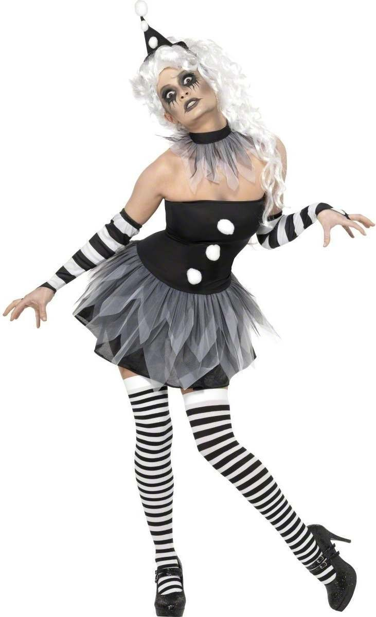 Sinister Pierrot Fancy Dress Costume Ladies (Clowns)